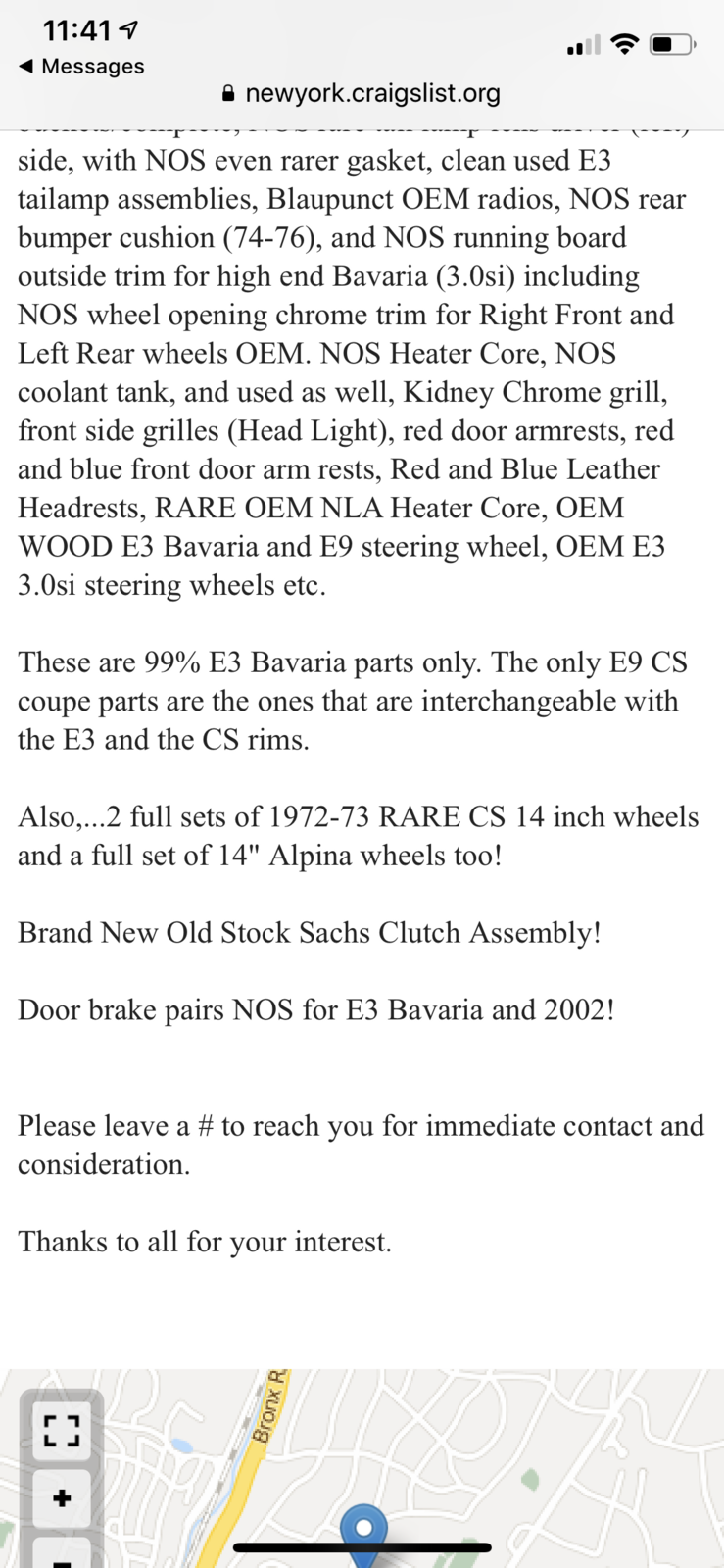 Ny Craigslist Nos E3 Parts Nmna Bmw E9 Coupe Discussion Forum
