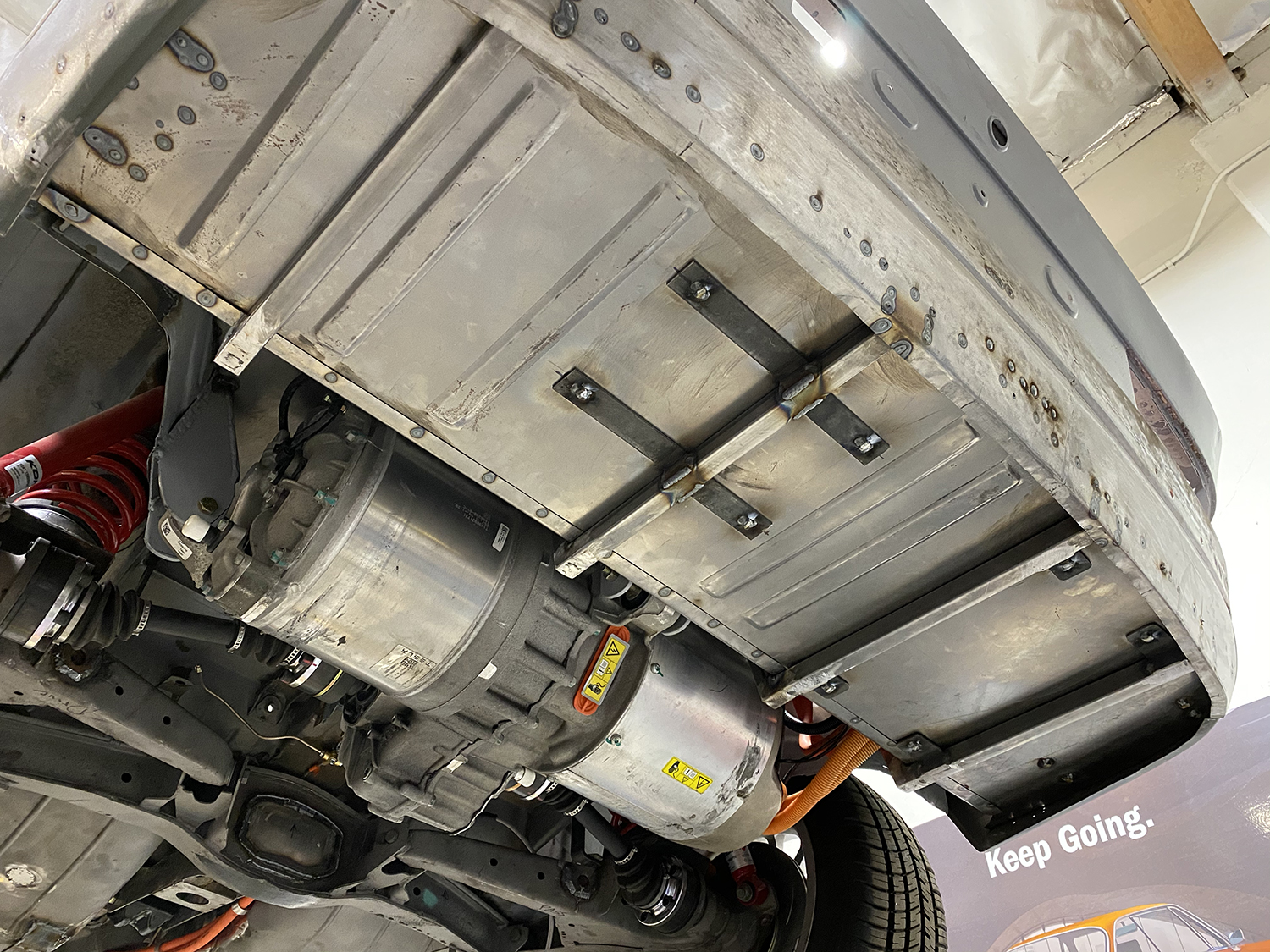 Here is the trunk from under the car. The motor now feels like it has a home, rather than hanging there exposed.